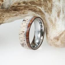 black titanium wedding bands titanium ring wooden deer antler mens titanium ironwood wedding