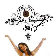 black bird branch diy wall clock pvc sticker home living office