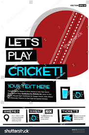 sports ticket invitation lets play cricket flat style vector stock vector 563262520
