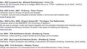 Blizzard Resume Pior Oberson Character Artist