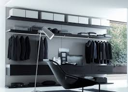 contemporary bedroom with closet white black walk in wardrobe