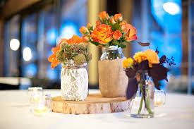 mason jar and burlap wood wedding centerpieces with flowers ipunya