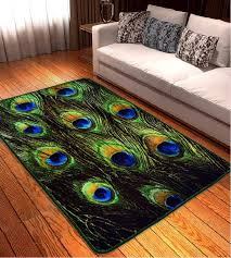 Peacock Area Rug 80x120cm 3d Style Peacock Feathers Carpets For Living Room
