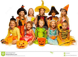 halloween costumes for kids pumpkin ten kids in halloween costumes together isolated stock photo