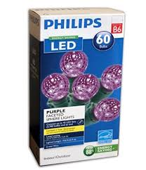 philips 60 sphere lights amazon com philips 60 led purple faceted sphere string lights home