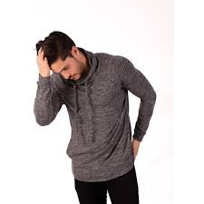 cowl sweater cartel mens charcoal marble cowl neck hooded sweater