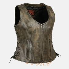 light brown vest womens milwaukee womens sidelace zipup distress brown leather motorcycle