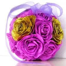 centerpiece for baby shower gold lilac lavender crepe paper balls flowers wedding