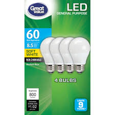 great value led light bulbs 8 5w 60w equivalent soft white 4
