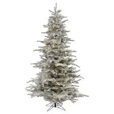 7 5ft flocked artificial tree with white led
