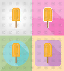 ice cream with white chocolate on stick icon flat color design