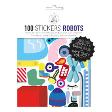 robot wall stickers set of 100 multicoloured omy design robot wall stickers set of 100 product