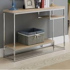 wood and metal console table baran wood metal console table by mercury row