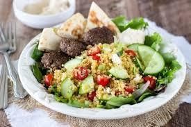 Mediterranean Vegan Kitchen - mediterranean quinoa salad with spiced mini burgers simple