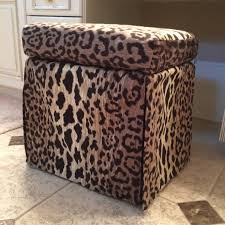 Print Ottoman Living Room Leopard Print Storage Ottoman With Leopard Print
