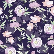 kimono repeat pattern vector pastel kimono flowers on black seamless stock vector