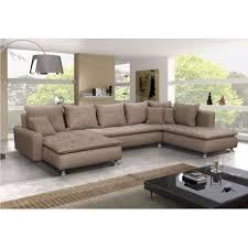 canape angle grand canapé panoramique 7 places dante en tissu et simili cuir