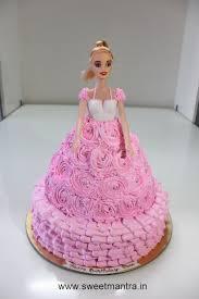 barbie doll theme shaped personalized fresh cream birthday cake