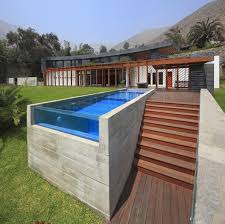 swimming pool wooden pool deck with pergola and railing also