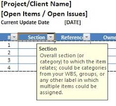 Issue Tracking Excel Template Free Excel Open Items Template