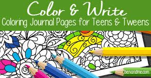 color write coloring journal pages teens tweens