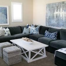 Grey Velvet Sectional Sofa gray velvet sectional contemporary media room new england home