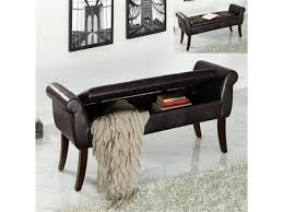 charming storage bench for living room using curved wooden legs
