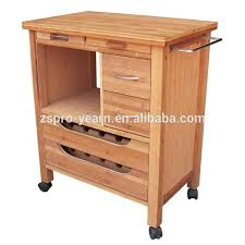 wood kitchen service trolley cart with 4 tiers 2 drawers 2 metal