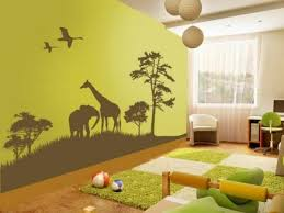 deco chambre jungle design interieur décoration murale chambre enfant animaux savane