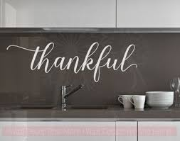 thankful cursive vinyl lettering art wall stickers decals for