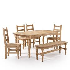 manhattan comfort jay 6 piece nature solid wood dining set with 1