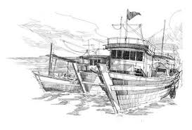 drawing of landscape with old fishing village stock photo picture