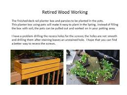 retired wood working deck rail planter box youtube