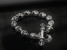 jewelry silver handmade bracelet images Calavera skull bracelet for men 925 sterling silver handmade in jpg