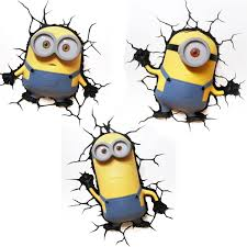 minions 3d led wall lights new bedroom accessory 100