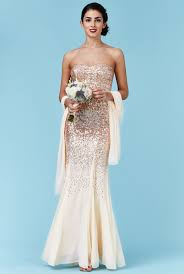 bandeau sequin and chiffon maxi dress with scarf champagne