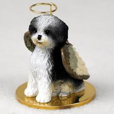 shih tzu figurine ornament statue puppy black white