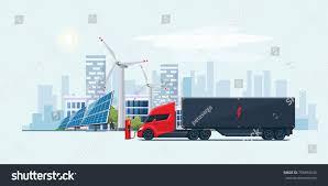electric semi truck flat vector illustration futuristic white electric stock vector