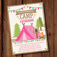 backyard camping party invitation for a summer campout