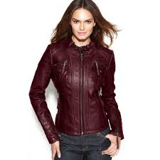 ladies leather motorcycle jacket michael kors leather bucklecollar motorcycle jacket in red lyst