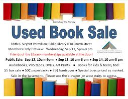 used book sale begins this week u2013 edith b siegrist vermillion
