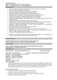 Software Testing 3 Years Experience Resume Resume Vivek Patil Manual Automation Testing