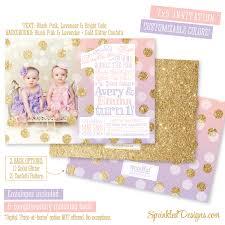 first birthday invitation for twin girls blush pink lavender