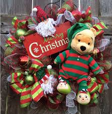 Winnie The Pooh Christmas Tree Decorations Winnie The Pooh Christmas Christmas Wreath Disney By Babamwreaths