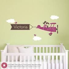 Wall Decals For Girl Nursery by Airplane Girl Name Banner Wall Decal Graphic Spaces