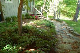 lush and beautiful shady front yard landscape designs with stone