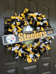 pittsburgh steelers nfl fabric wreath with sign by