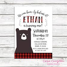 bear birthday invitation lumberjack birthday invitation first