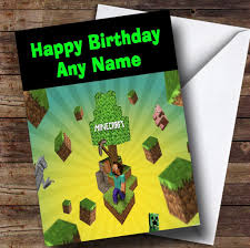 minecraft cards minecraft characters personalised children s birthday card the