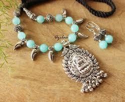 necklace silver online images Goddess blue laxmi ethnic antique silver plated necklace set jpg